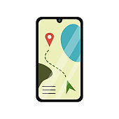 Mobile phone with GPS navigation. Isolated on a white background. Stock vector graphics.