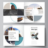 Vector layout of two covers templates for square design bifold brochure, flyer, cover design, book, brochure cover. Background with abstract circle round banners. Corporate business concept template.