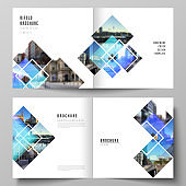 The vector illustration of the editable layout of two covers templates for square design bifold brochure, magazine, flyer, booklet. Creative trendy style mockups, blue color trendy design backgrounds.