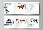 Vector layout of square format cover templates for trifold brochure, flyer, cover design, book design, brochure cover. Design template in the form of world maps and colored frames, insert your photo.