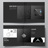 Vector layout of two covers templates for square design bifold brochure, flyer, magazine, cover design, book design, brochure cover. Tech science future background, space astronomy concept.