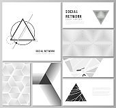 The minimalistic abstract vector of the editable layouts of modern social network mockups in popular formats. Abstract geometric triangle design background using different triangular style patterns.