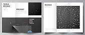 Vector layouts of covers design templates for trifold brochure, flyer layout, magazine, book design, brochure cover, advertising mockups. Tech science future background, space design astronomy concept