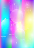 Dynamic shape background with liquid fluid. Holographic bauhaus gradient with retro elements.