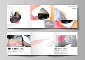 The minimal vector editable layout of square format covers design templates for trifold brochure, flyer, magazine. Yellow color gradient abstract dynamic shapes, colorful geometric template design.
