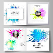The vector illustration of the editable layout of two covers templates for square design bifold brochure, magazine, flyer, booklet. Colorful watercolor paint stains vector backgrounds.