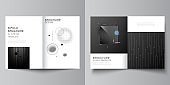 Vector layout of two A4 format cover mockups design templates for bifold brochure, flyer, magazine, cover design, book design, brochure cover. Tech science future background, space astronomy concept.