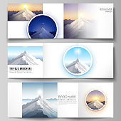 Minimal vector editable layout of square format covers design templates for trifold brochure, flyer, magazine. Mountain illustration, outdoor adventure. Travel concept background. Flat design vector.