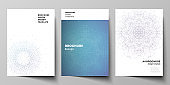 Vector layout of A4 format modern cover mockup design templates for brochure, magazine, flyer, booklet, report. Big Data Visualization, geometric communication background with connected lines and dots