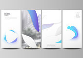 The minimalistic vector illustration of the editable layout of flyer, banner design templates. Blue color gradient abstract dynamic shapes, colorful geometric template design.