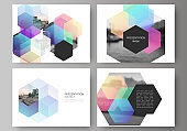 Vector layout of the presentation slides design business templates, multipurpose template with abstract shapes and colors for presentation brochure, brochure cover, business report.