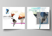 Vector layout of two square format covers templates for brochure, flyer, cover design, book design, brochure cover. Design template in the form of world maps and colored frames, insert your photo.