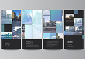 Vector layout of flyer, banner templates for website advertising design, vertical flyer design, website decoration backgrounds. Abstract design project in geometric style with blue squares.