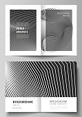 Vector layout of two A4 format modern cover mockup design templates for bifold brochure, flyer, booklet, report. Geometric background, futuristic science and technology concept for minimalistic design