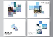 Vector layout of the presentation slides design business templates, multipurpose template for presentation brochure, brochure cover. Abstract design project in geometric style with blue squares.