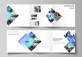 The minimal vector editable layout of square format covers design templates for trifold brochure, flyer, magazine. Creative trendy style mockups, blue color trendy design backgrounds.