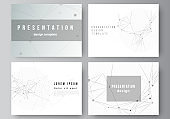 Vector layout of presentation slides design business templates, template for presentation brochure, brochure cover, report. Gray technology background with connecting lines and dots. Network concept.