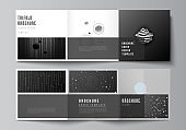 Vector layout of square format covers design templates for trifold brochure, flyer, magazine, cover design, book design, brochure cover. Tech science future background, space astronomy concept.
