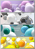 Vector layout of headers, banner design templates for website footer design, horizontal flyer design, website header. Abstract futuristic background with colorful 3d spheres, glossy bubbles, balls.