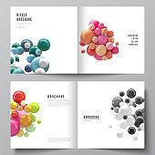 Vector layout of two covers templates for square bifold brochure, flyer, magazine, cover design, book design. Abstract vector futuristic background with colorful 3d spheres, glossy bubbles, balls.