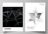 Vector layout of A4 format modern cover mockups design templates for brochure, magazine, flyer, booklet, report. 3d polygonal geometric modern design abstract background. Science or technology vector.