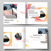 The vector illustration layout of two covers templates for square design bifold brochure, magazine, flyer, booklet. Yellow color gradient abstract dynamic shapes, colorful geometric template design.