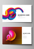 The minimalistic abstract vector illustration layout of two creative business cards design templates. Futuristic technology design, colorful backgrounds with fluid gradient shapes composition.