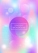 Fluid shapes background with liquid dynamic elements. Holographic bauhaus gradient with trendy.