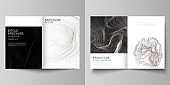 The vector layout of two A4 format modern cover mockups design templates for bifold brochure, magazine, flyer, booklet, annual report. 3D grid surface, wavy vector background with ripple effect.