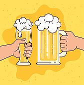 hands holding beers in mug and glass, on yellow background