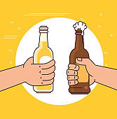 hands holding beers in bottles, on yellow background