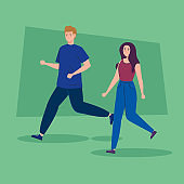 young couple walking avatar character