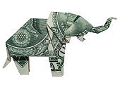 Money Origami ELEPHANT Right Side Folded with Real One Dollar Bill Isolated on White Background