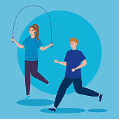 couple practicing exercise avatar character icon