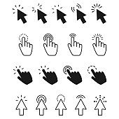 click icon set. Hand clicking, Computer mouse click cursor Vector illustration.