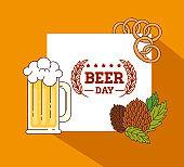 international beer day, august, mug in beer with seeds hop