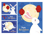 frames with rabbits moons and lanterns of happy mid autumn festival vector design