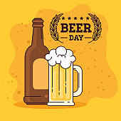 international beer day, august, bottle and mug of beer