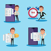 set scenes of tax day poster with icons