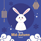 rabbit with moon and lanterns of happy mid autumn festival vector design