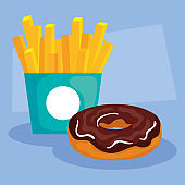 delicious fresh sweet donut with french fries