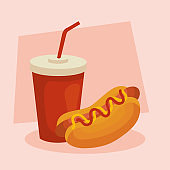 fast food, delicious hot dog with bottle beverage