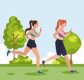 women jogging outdoor, women running in park, group women in sportswear jogging in nature