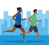 men afro jogging in cityscape, group men afro running, people afro in sportswear jogging