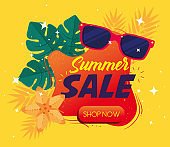 summer sale banner, season discount poster with sunglasses, leaves, flower, invitation for shopping with summer sale label, special offer card