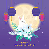 rabbit on flowers with moon and lanterns of happy mid autumn festival vector design