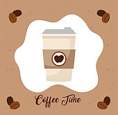 international coffee day poster, 1 october, and disposable with grains decoration