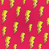 background of thunderbolts pop art style icons