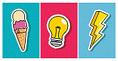 ice cream with light bulb and thunderbolt pop art style icon