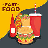 fast food poster, sandwich and set of fast food